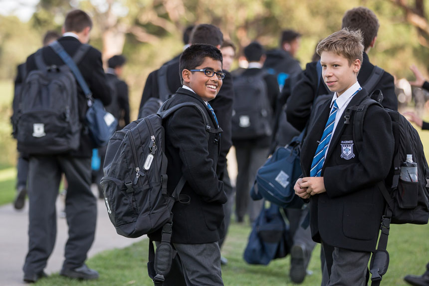 Students leaving Mazenod College Victoria at the end of the school day